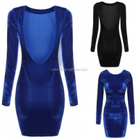 Wholesale Apparel Custom Women Cut Out Back Long Sleeve Sexy Slim Club Birthday Graduation Holiday Party Velour Bodycon Dress