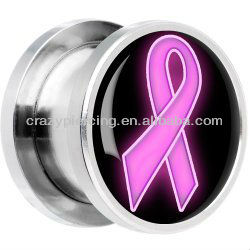 Awareness Ribbon Logo Ear Plug Tunnel Stainless Steel Body Jewelry Ear Expander Pircing