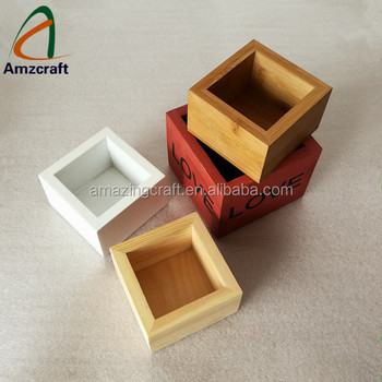 Whole Solid Wood Small Square Planter Bo Flower Pots