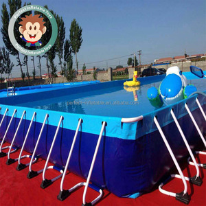 Hot Sale PVC Inflatable Water Park Game Equipment Rectangle Metal Frame Outdoor Swimming Pool