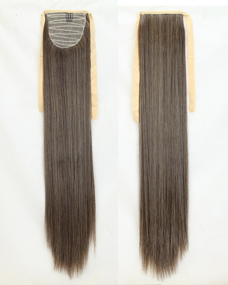 Long Straight Dark Brown Mix Ash Blonde Bingding Ponytails 21 Inches Clip on Ponytail Hair Extensions Hairpiece Ribbon Pony Tail Extension for Women Style