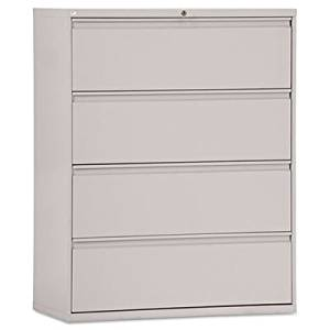 Four-Drawer Lateral File Cabinet, 42w x 19-1/4d x 53-1/4h, Light Gray, Sold as 1 Each