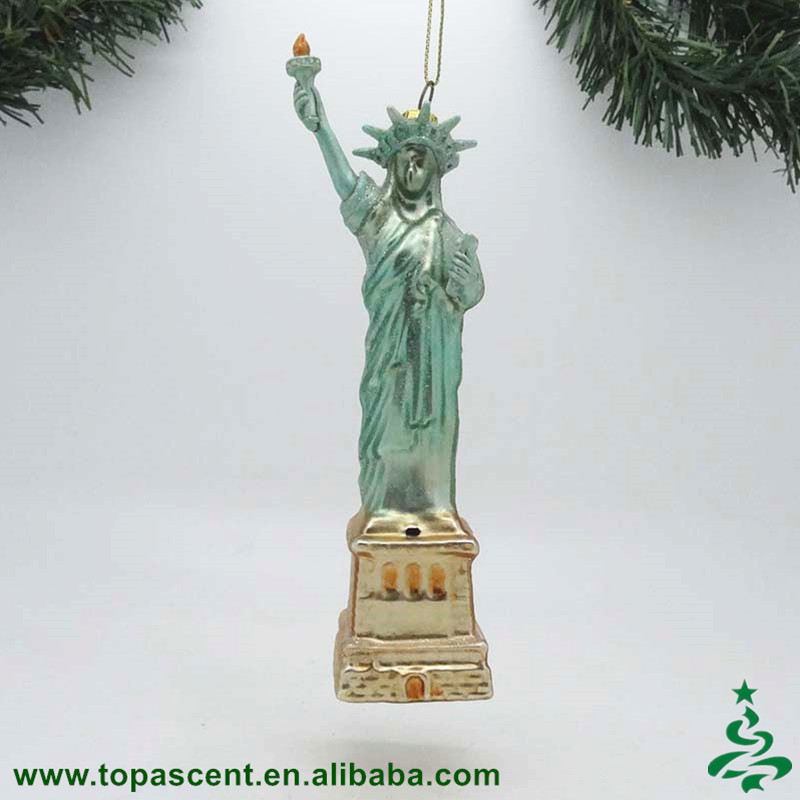 Hot indoor hanging scenery christmas decoration hand blown glass Statue of Liberty ornament