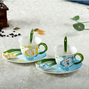 3D Design Hand Crafted Flower Shaped Enamel Ceramic Tea Coffee Mug Cup Set with Saucer and Spoon