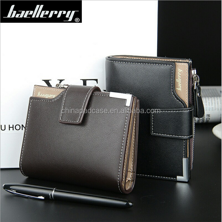 ON Sale!!! Factory Multi card slot Baellerry Men's zipper leather wallet /Business style Travel purse RFID wallets for Men