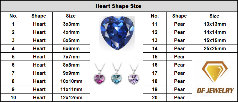 Loose heart shape tanzanite cz gemstone