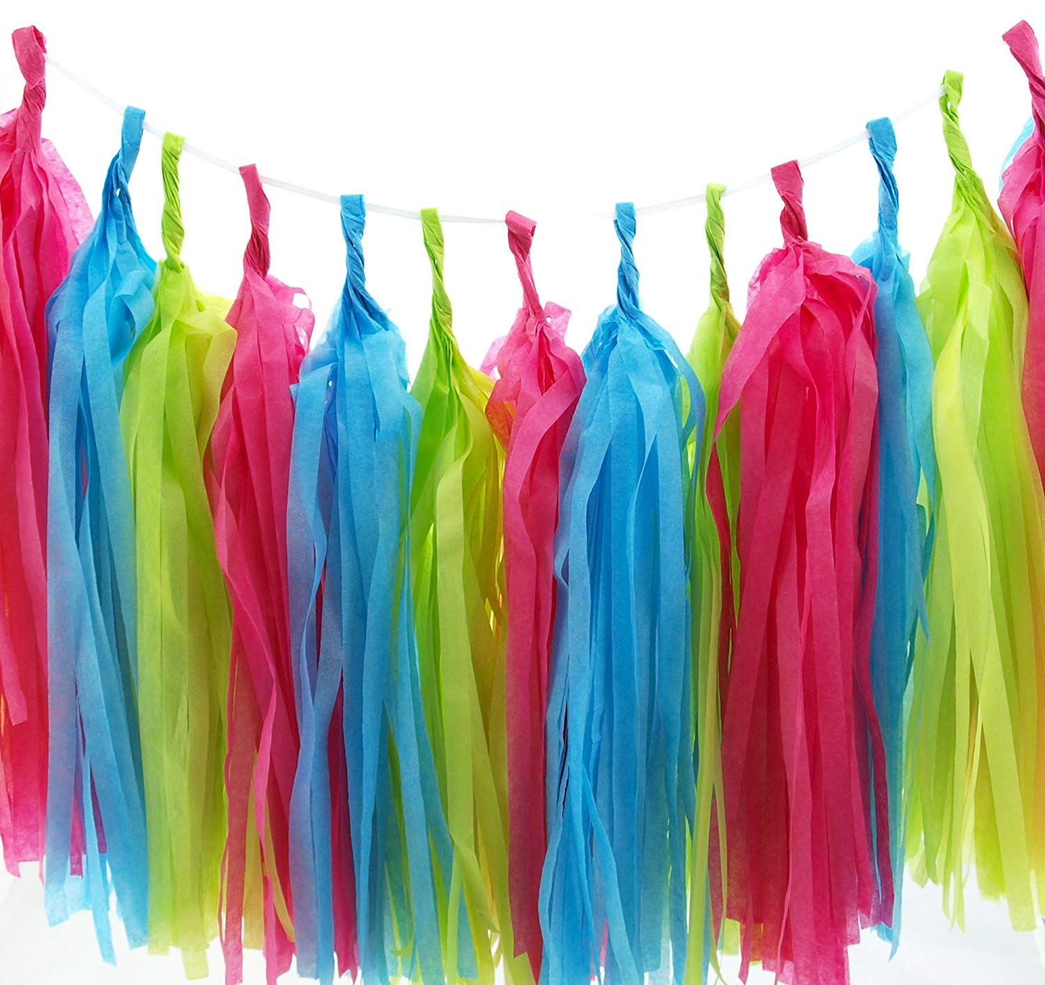 Mermaid Tissue Paper Garland, Under The Sea Party Tassels (Set of 15) - Mermaid Party Supplies, Pink, Aqua Blue & Green Tissue Paper Tassels, Girls Bedroom Mermaids Party Decorations Banner Backdrop