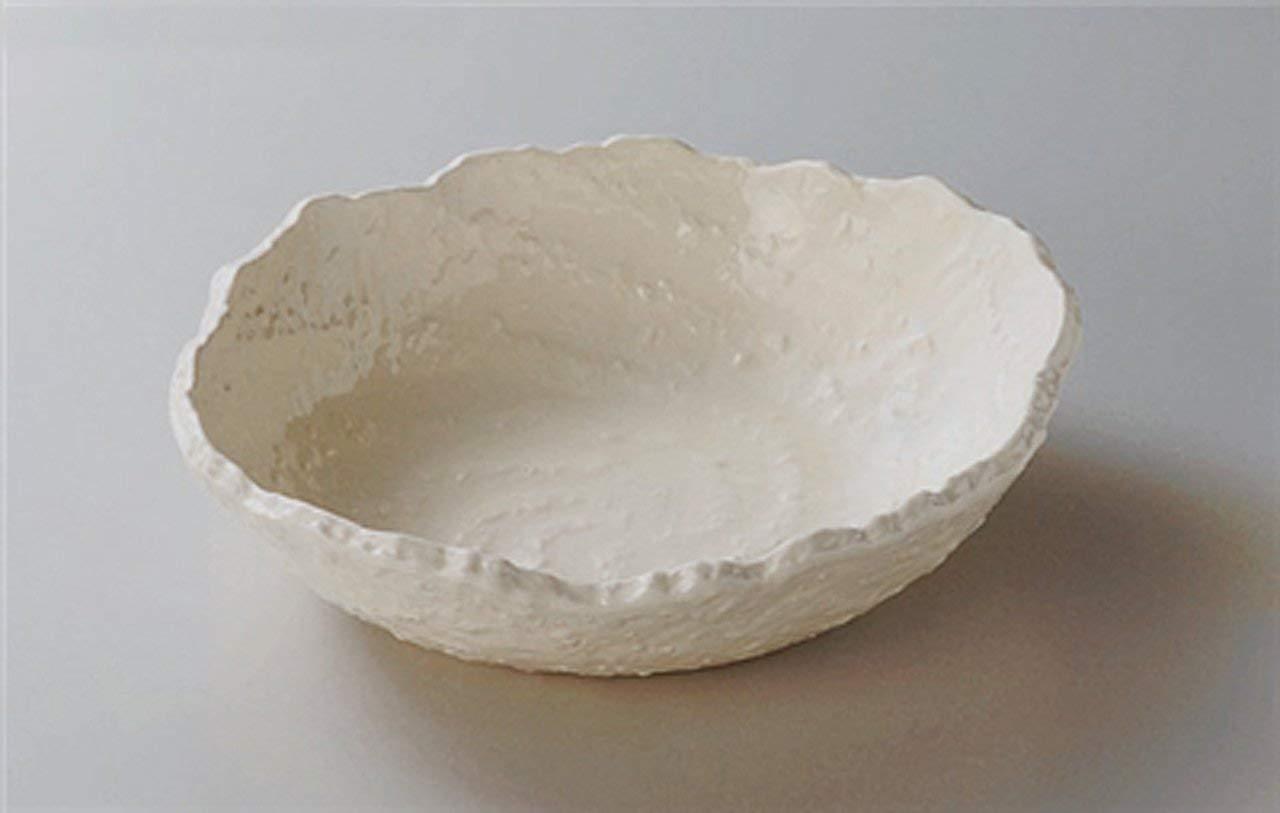 BANKO-YAKI WHITE-UZUSHIO JIKI Japanese traditional Porcelain Medium Plate made in JAPAN