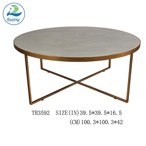 Ruijing Cement Antique Center Round Coffee Table with Metal Base