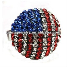 Hot Sale Rhinestone USA Flag Ring