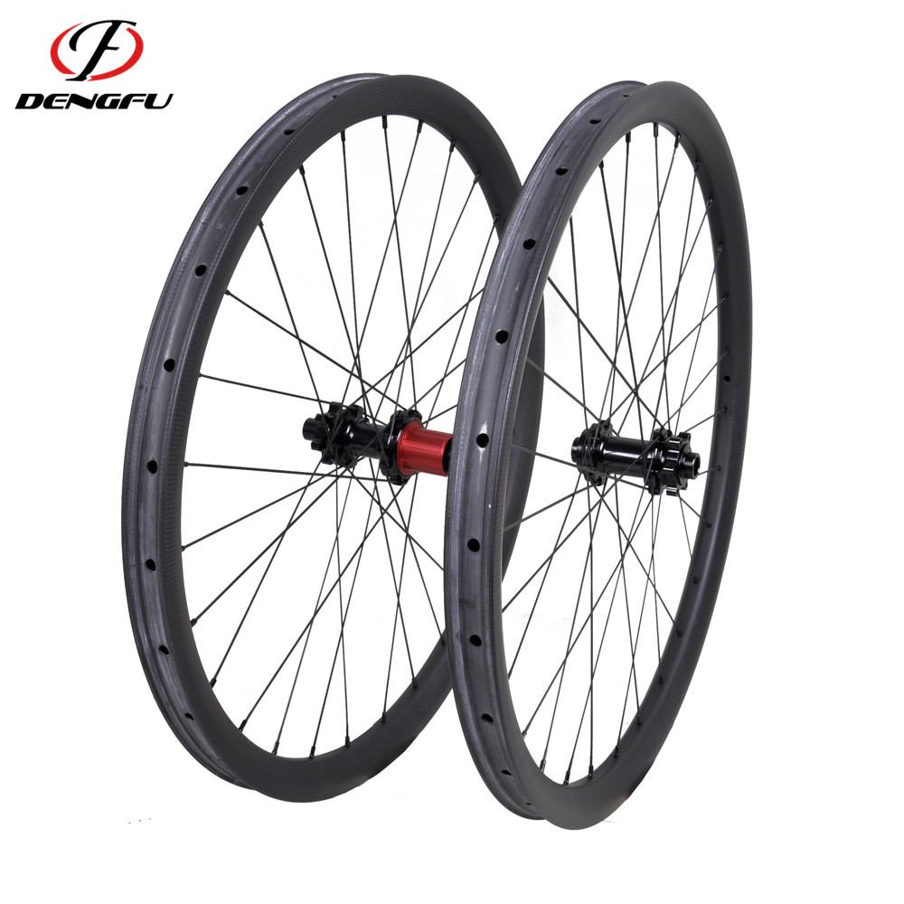 Dengfu 27.5er Carbon Fiber Mountain Bike 650b Wheels 35mm Wide with Chosen Hubs and Sapim Spokes