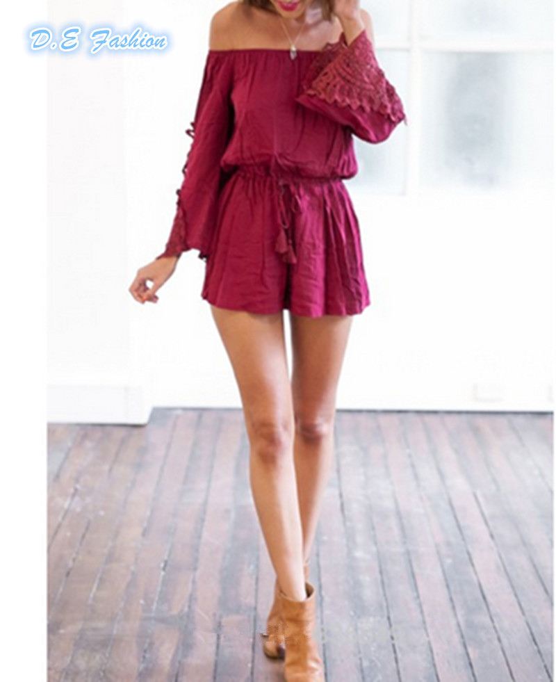 f23b38efc45 Get Quotations · 2015 Summer Women Sexy Celeb Off Shoulder Playsuit Lady  Lace Purple Strapless Short Jumpsuit Casual Long