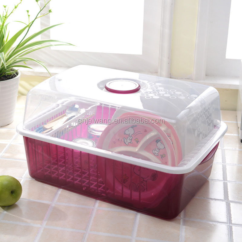 Kitchen Plastic 2 Tier Draining Dish Drainer Rack With Cover