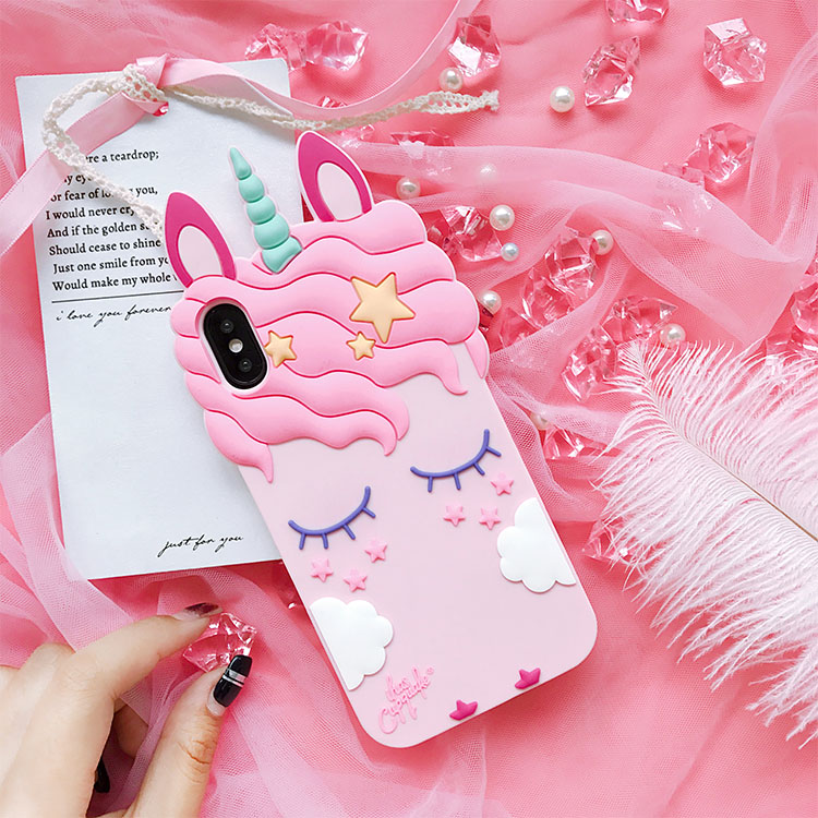 Pink Rubber Silicone Cute Horse with Long Eyelash Shape Case For iphone 7plus фото