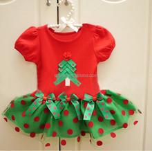 nueva llegada polka dot impreso de dos colores girls short dtess para navidad