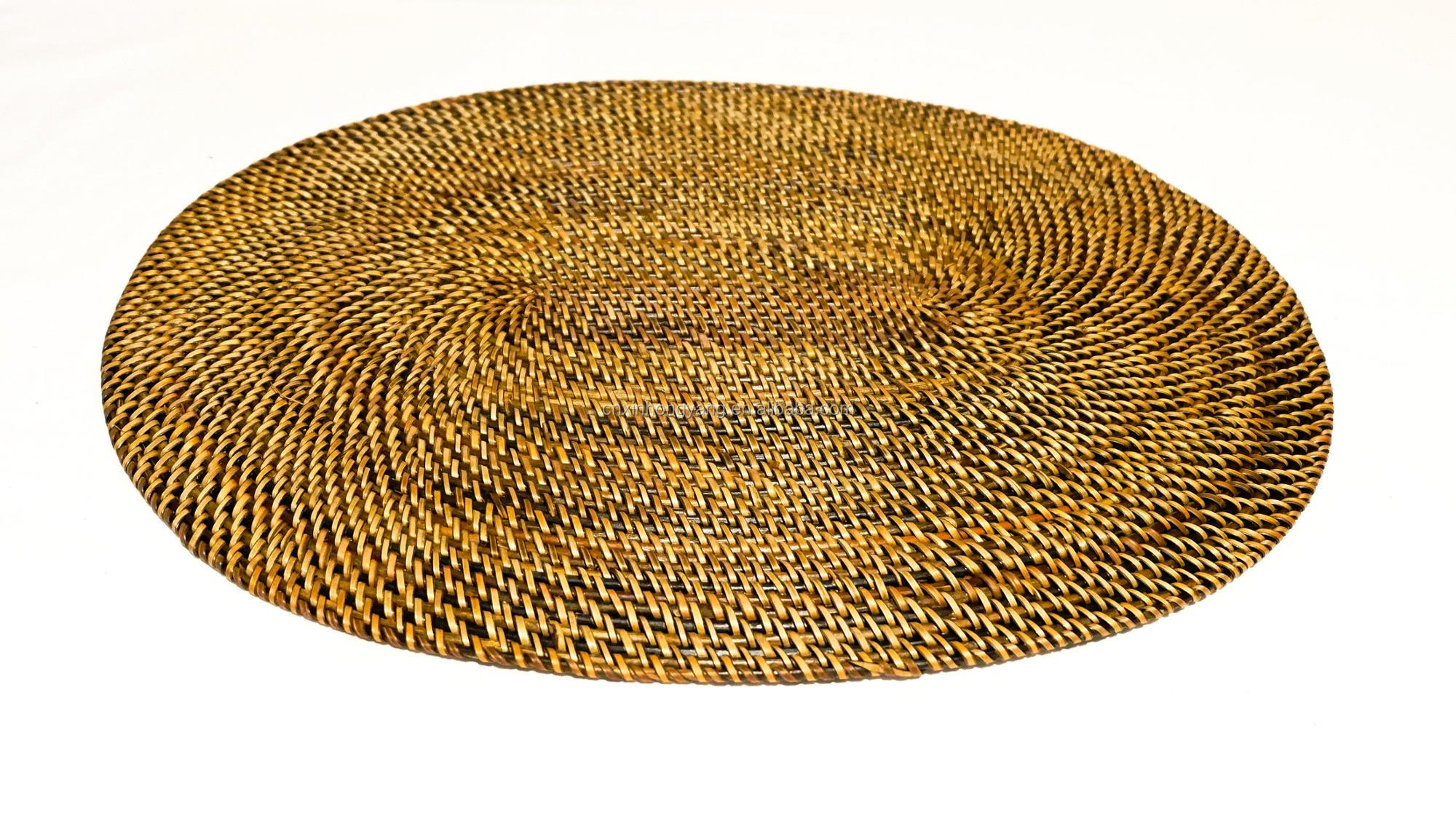 Source factory wholesale cane woven placemat, rattan hand weaved placemats, natural straw weave table mat, weaving bamboo mats