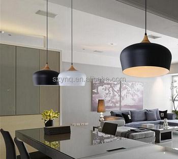 Metal Wood Pendant Light Hanging Ceiling Shade Lamp Globe Lighting High Shape Night