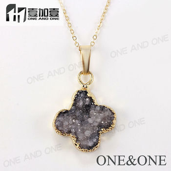 Fashion four leaf clover pendant druzy stones pendant necklace fashion four leaf clover pendant druzy stones pendant necklace wholesale gray color jewelry mozeypictures Gallery