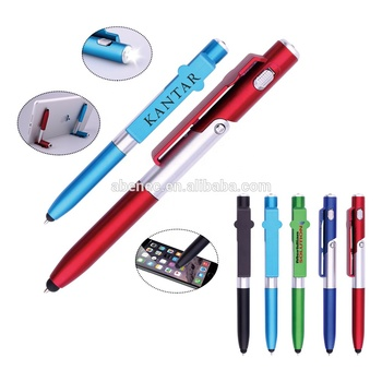Hotsale  promotion multifunction pen Phone Holder Stylus touch  Pen with LED light customized logo for souvenir gift