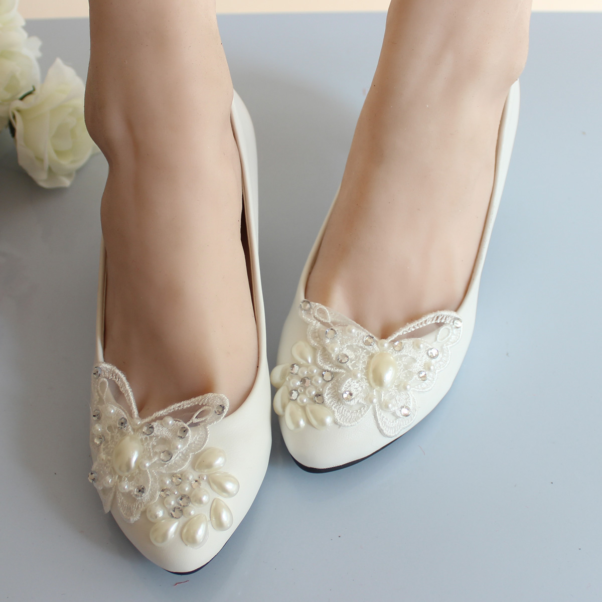 Lace Butterfly Wedding Shoes