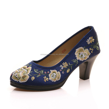 2018 Hot Sale Newest Design China Ladies Party High Heel Dress Women Shoes Flower Embroidery Shoes