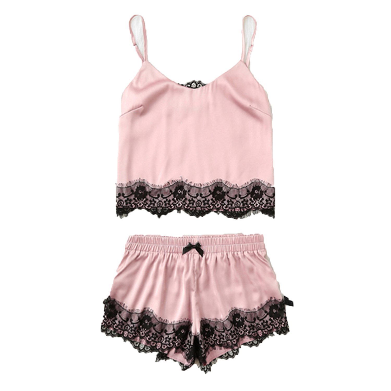 ecbded2b87 Get Quotations · fashion-magic-closet Pink Spaghetti Strap Lace Applique  Satin Cami Top and Shorts Pajama