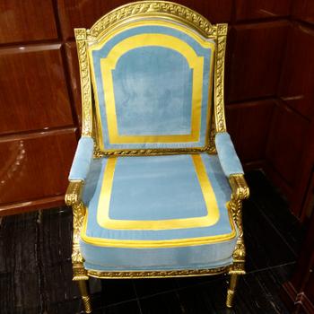 Franzosisch Vintage Stil Luxus Blau Samt Einzigen Sofa Gold Papier