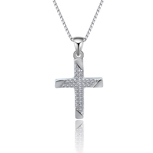 Silver AAA Cubic Zircon 925 Sterling Silver Cross Pendant Necklace For Women And Girl
