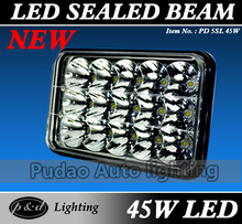 Top ten best-selling auto led 45w truck led headlight 4x6 projector headlight 5 inch square sealed beam