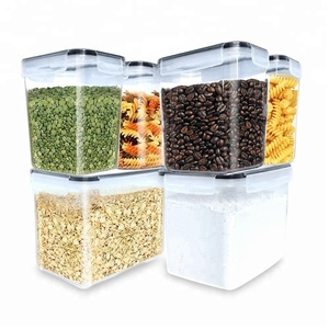 FREE SHIPPING Plastic cereal container LARGE SIZE Food Storage Containers - Sugar, Flour Plastic Containers 6pc (set of 6 )