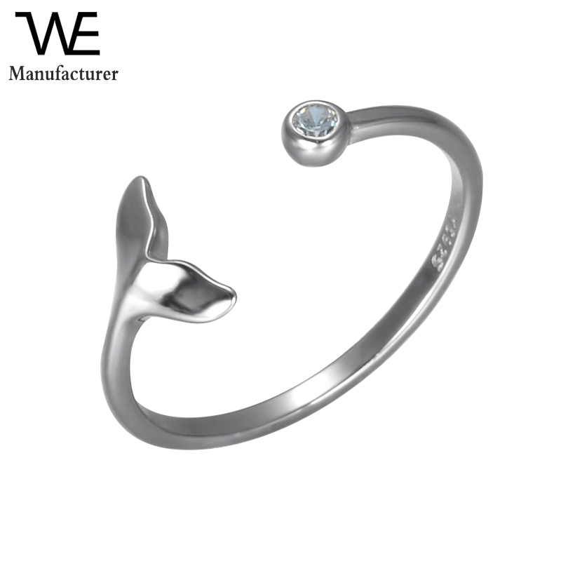 New Design Simple 925 Sterling <strong>Silver</strong> with Zircon Women Fishtail Mermaid Ring