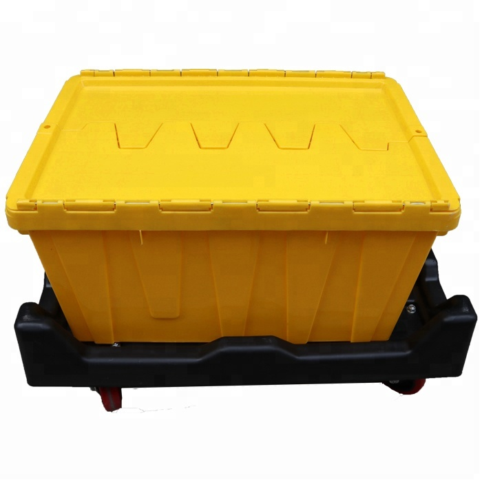 Straight Wall Nesting Plastic Logistic Box Colorful Plastic Logistic Container with Dolly