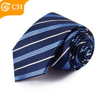 China Supplier Neckwear Wholesale Handmade Blue Business Men 100% Silk Stripe Ties