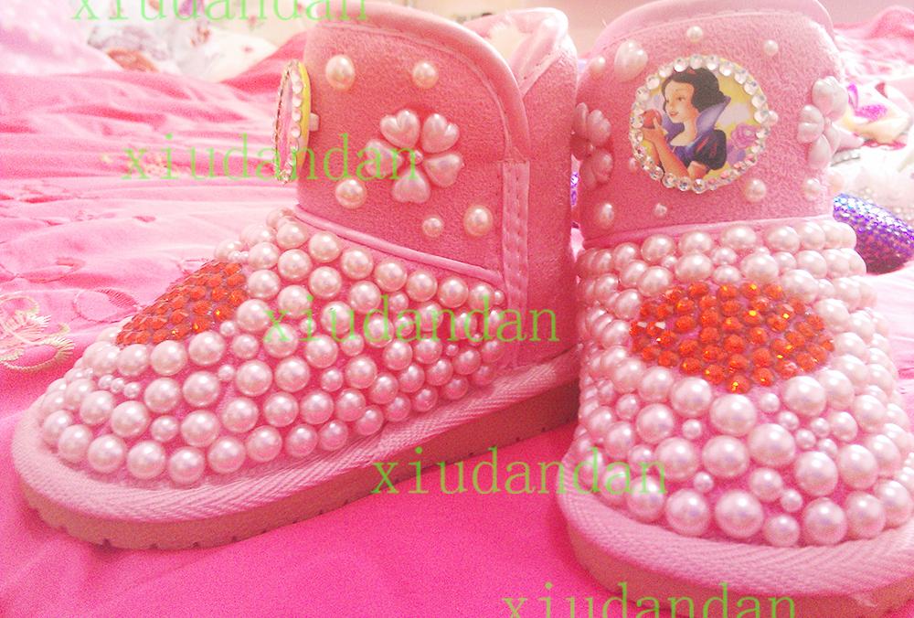 Free shipping Children rhinestone pearl snow boots handmade children Snow White fashion snow boots girl winter