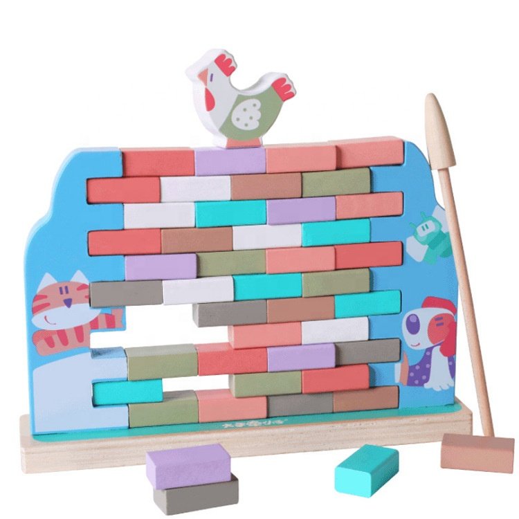 Children'S Preschool Push Wall Wooden Tumbling Tower Domino Blocks Games Toy For Educational Toddlers