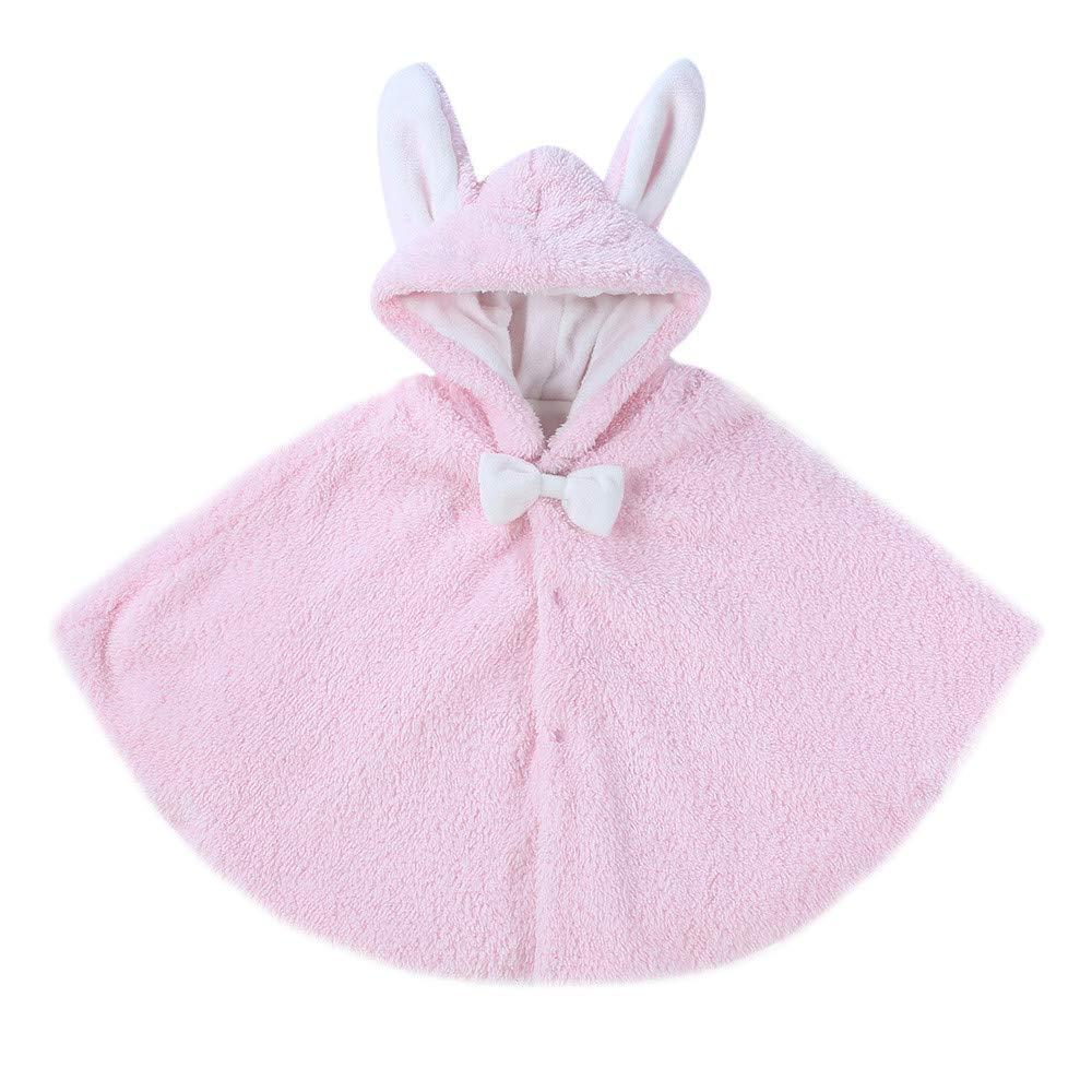 ❤️Mealeaf❤️Toddler Baby Boys Girls Keep Warm Cartoon Rabbit Ears Hooded Coat Cloak Clothes (1-2 Years Old, Pink)