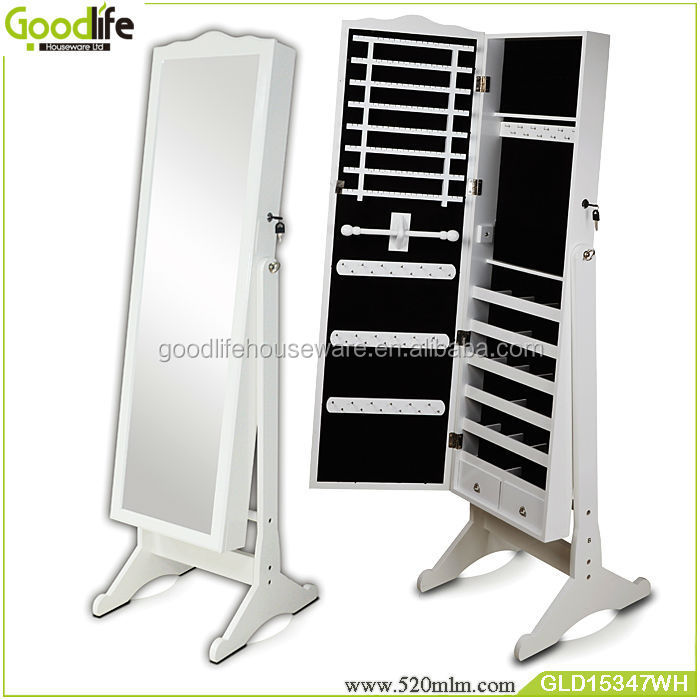 Standing floor mirror jewelry cabinet for home cabinet