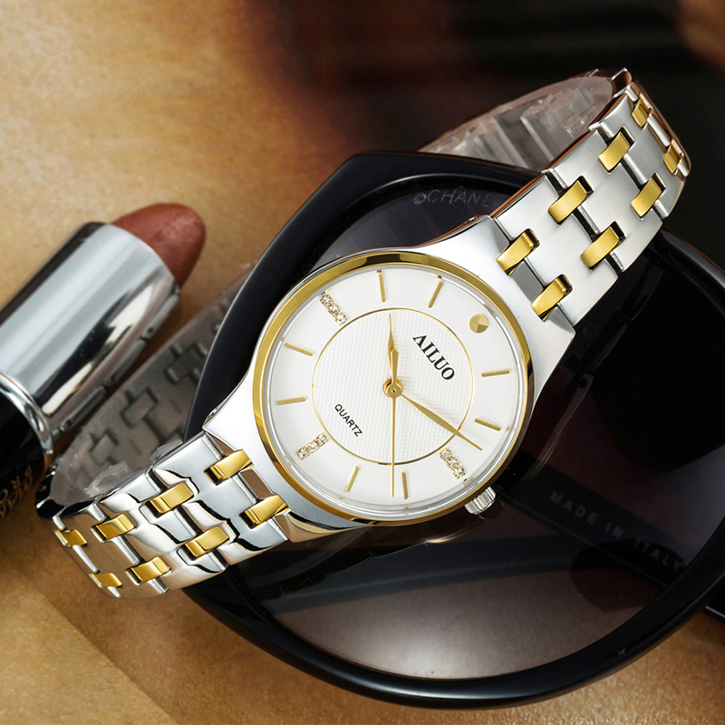 Gold luxury business quartz movement stainless steel women watches