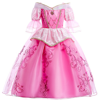 Long Sleeve Sleeping Beauty Aurora Girl Party Dress Christmas Costume Girl princess dress