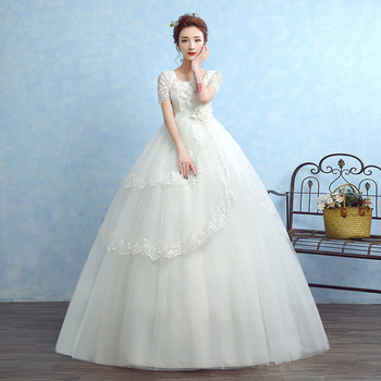 Zh2305g Cheap Plus Size Ball Gown Wedding Dresses With Short Sleeves Lace  Appliques Big Flower Bridal Gown - Buy China Wedding Gown,Cheap Plus Size  ...