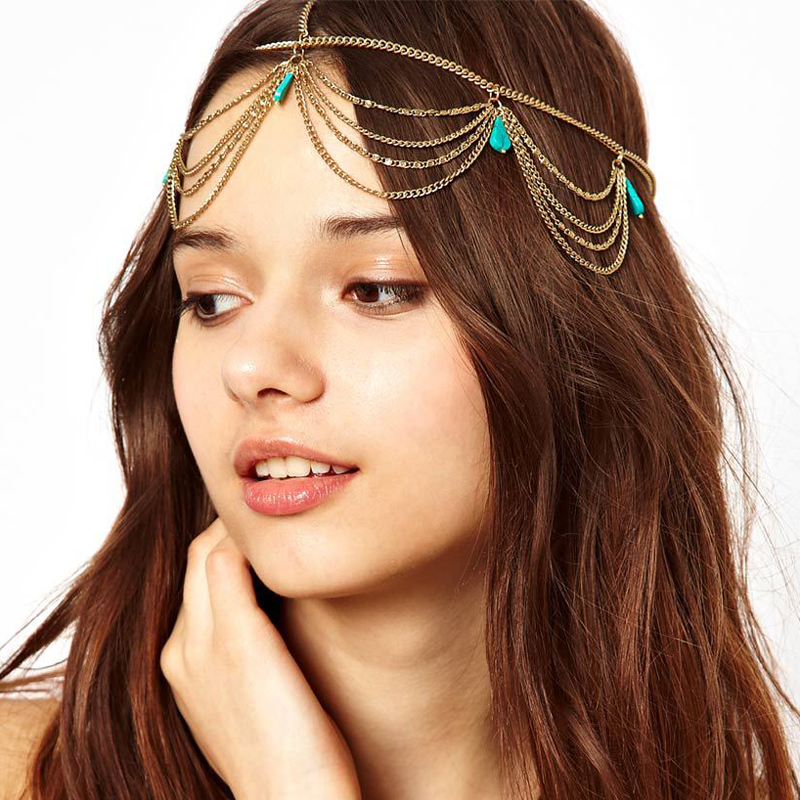 Indian Bridal Hair Accessories Gold Head Chain For Women