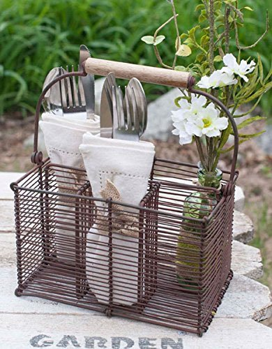 Kitchen Supply Utensil [Caddy] Cutlery Organizer, Holds Napkins, Forks, Spoons, Spatula, With Wood handle for Easy Carrying