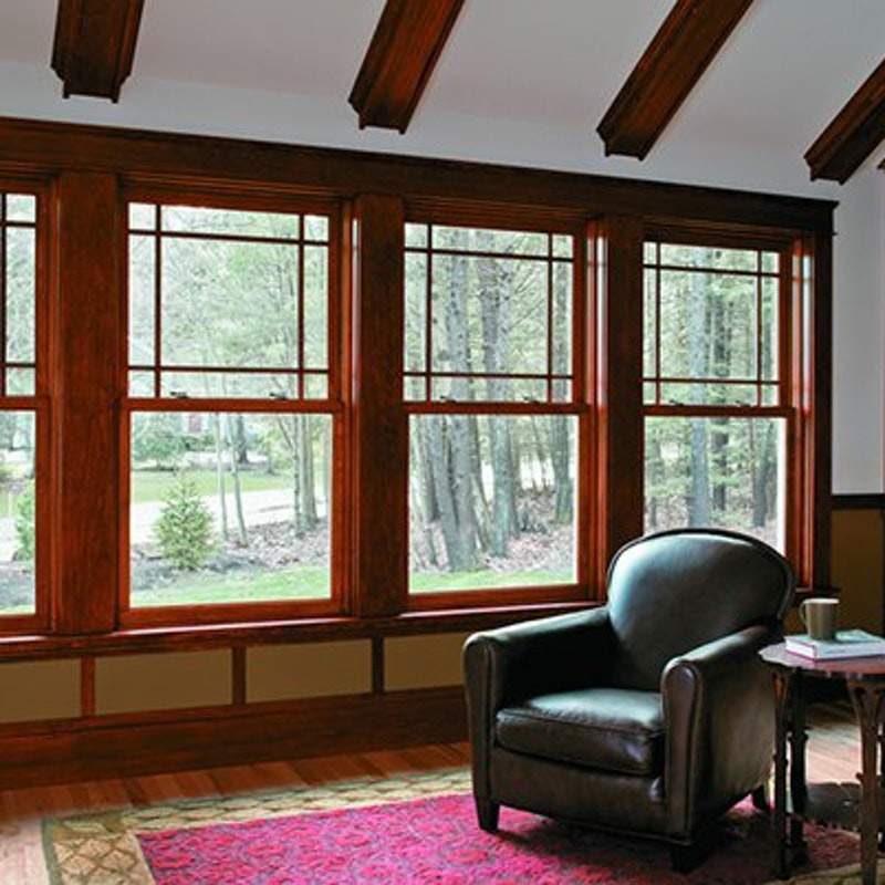 wood grain aluminum hung window double pane casement hung windows
