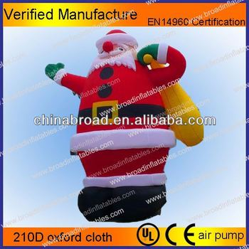 Hot Selling Christmas Decoration Inflatable Skiing Santa Claus