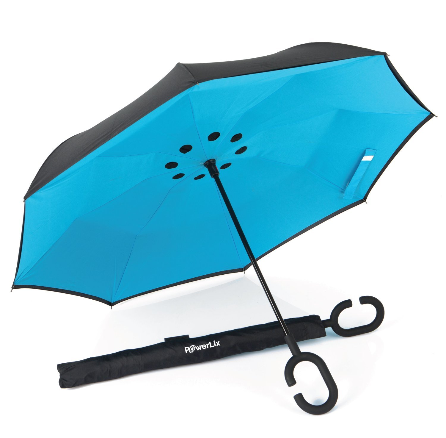 PowerLix Inverted Umbrella - Double Layer Large Reverse Folding Umbrella for Car Rain Outdoor, Windproof And Uv Proof - Hands Free C-Shaped Handle, Self-Standing Feature – For men's and women's