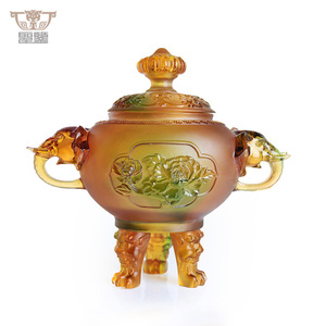 Colored Crystal Liuli Peony Elephants Tripod Cone Incense Burner
