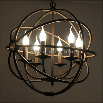 Large Black Iron Ball Shape Pendant Light With Strong Arms Ceiling ...
