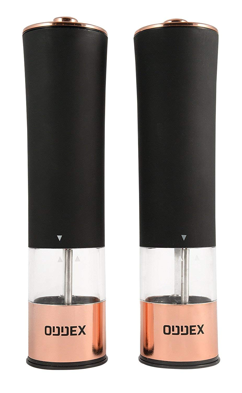 Electric Salt and Black Pepper Grinder Set by ODDEX | Automatic One Touch Operation, Adjustable Coarseness, Battery Operated, Refillable, Durable and Simple To Use Mill | (Bronze & Matte Black)