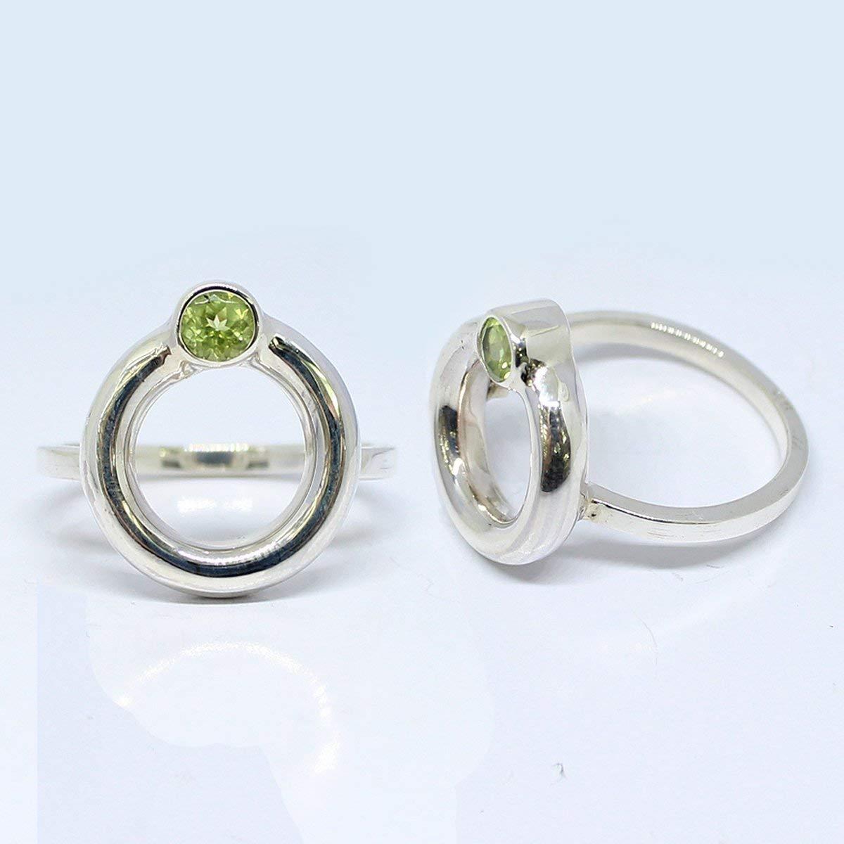 Handmade sterling silver ring with genuine 4 * 4 mm peridot stone, beautiful gems stone ring, stunning bali handmade rings, silver ring with natural peridot stone