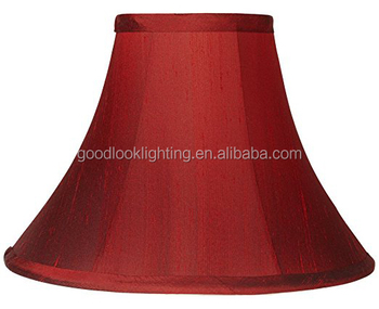 Transitional Red Fabric Bell Shaped Lamp Shade With Self Trim Top And Bottom Spider